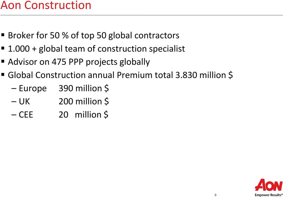 projects globally Global Construction annual Premium total 3.