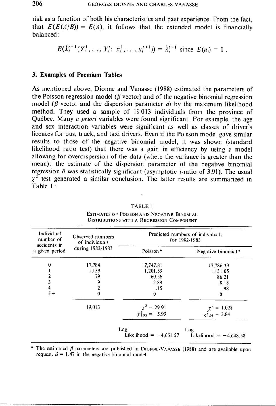 Examples of Premium Tables As mentioned above, Dionne and Vanasse (1988) estimated the parameters of the Poisson regression model (fl vector) and of the negative binomial regression model (fl vector