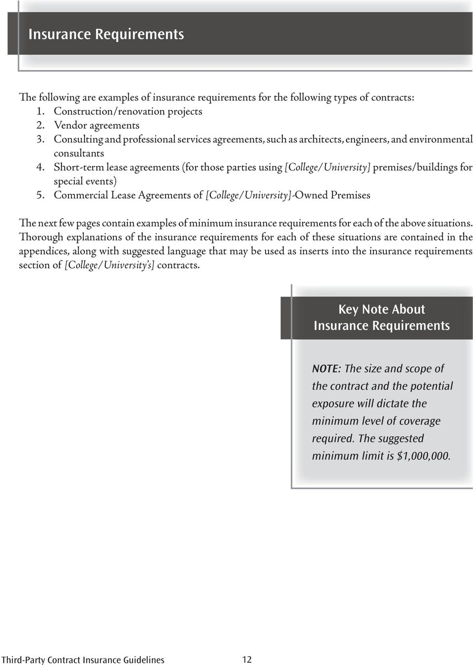 Short-term lease agreements (for those parties using [College/University] premises/buildings for special events) 5.