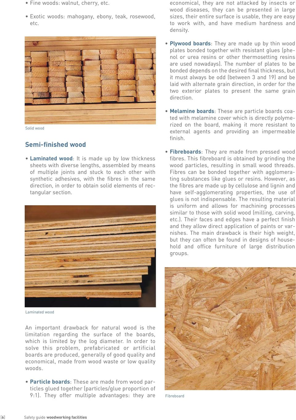 Plywood boards: They are made up by thin wood plates bonded together with resistant glues (phenol or urea resins or other thermosetting resins are used nowadays).