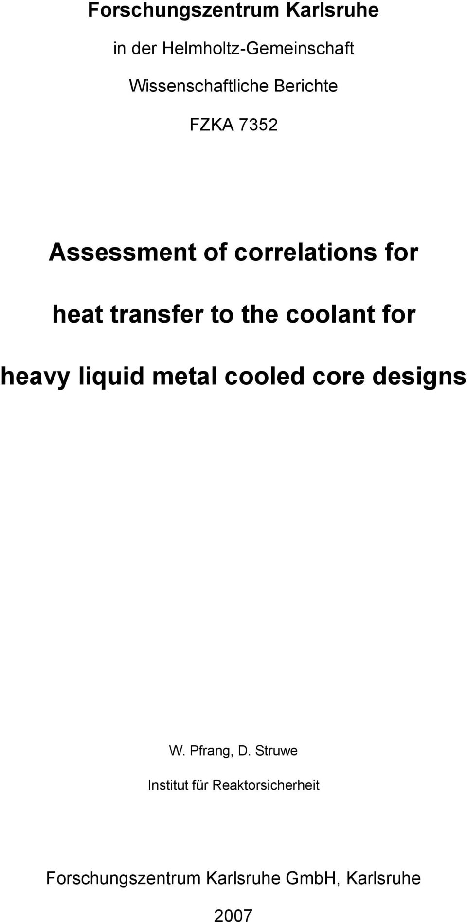 transfer to the coolant for heavy liquid metal cooled core designs W.