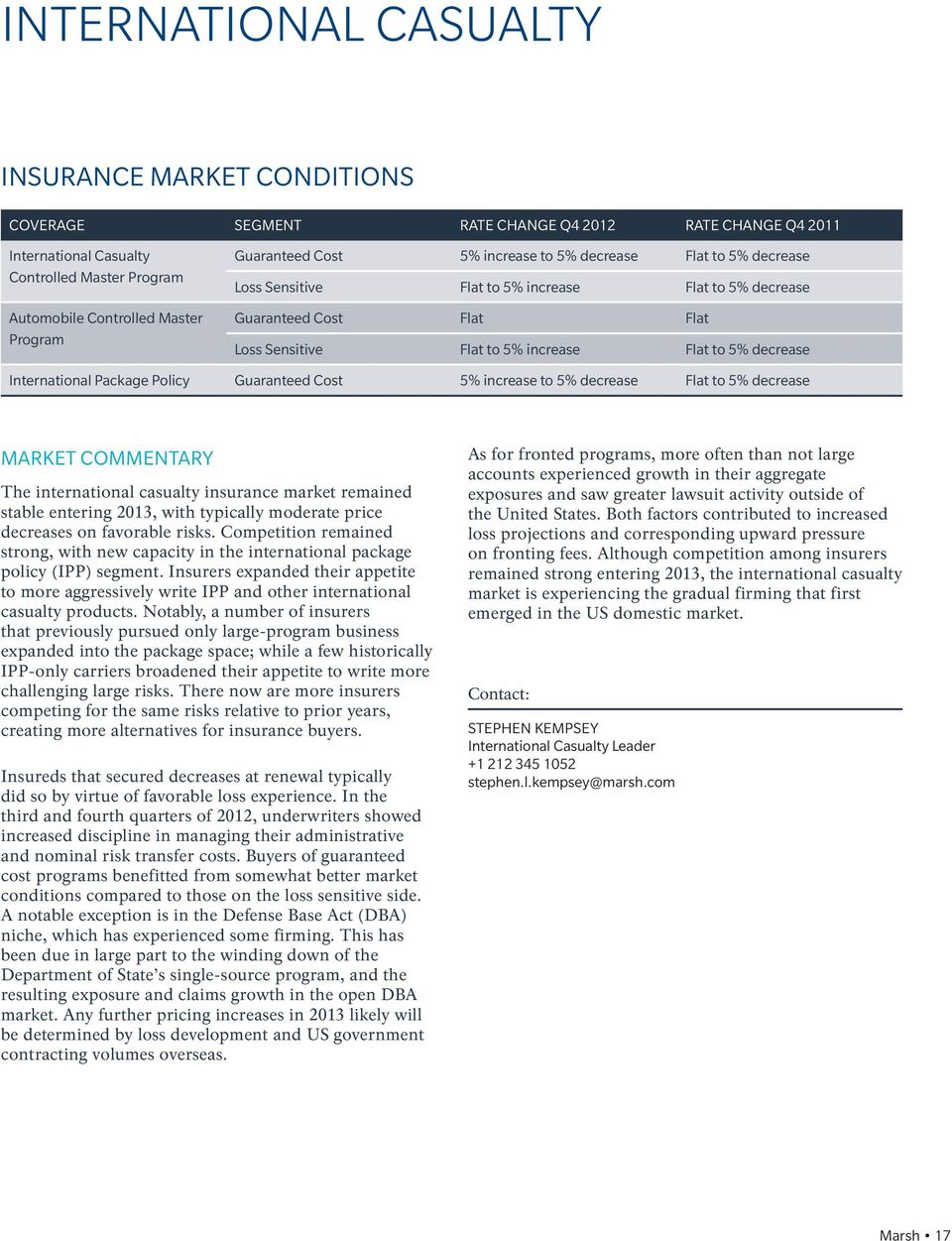 International Package Policy Guaranteed Cost 5% increase to 5% decrease Flat to 5% decrease MARKET COMMENTARY The international casualty insurance market remained stable entering 2013, with typically