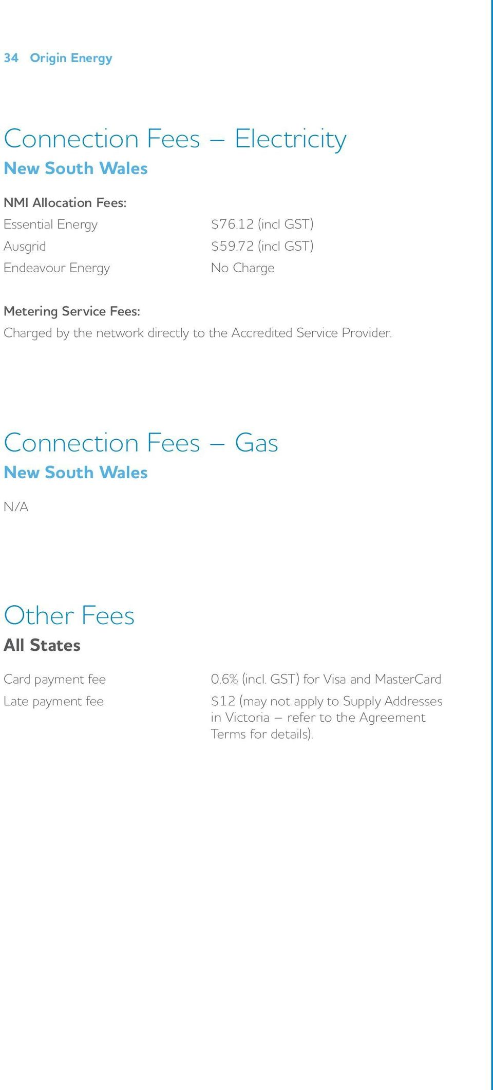 72 (incl GST) No Charge Metering Service Fees: Charged by the network directly to the Accredited Service Provider.