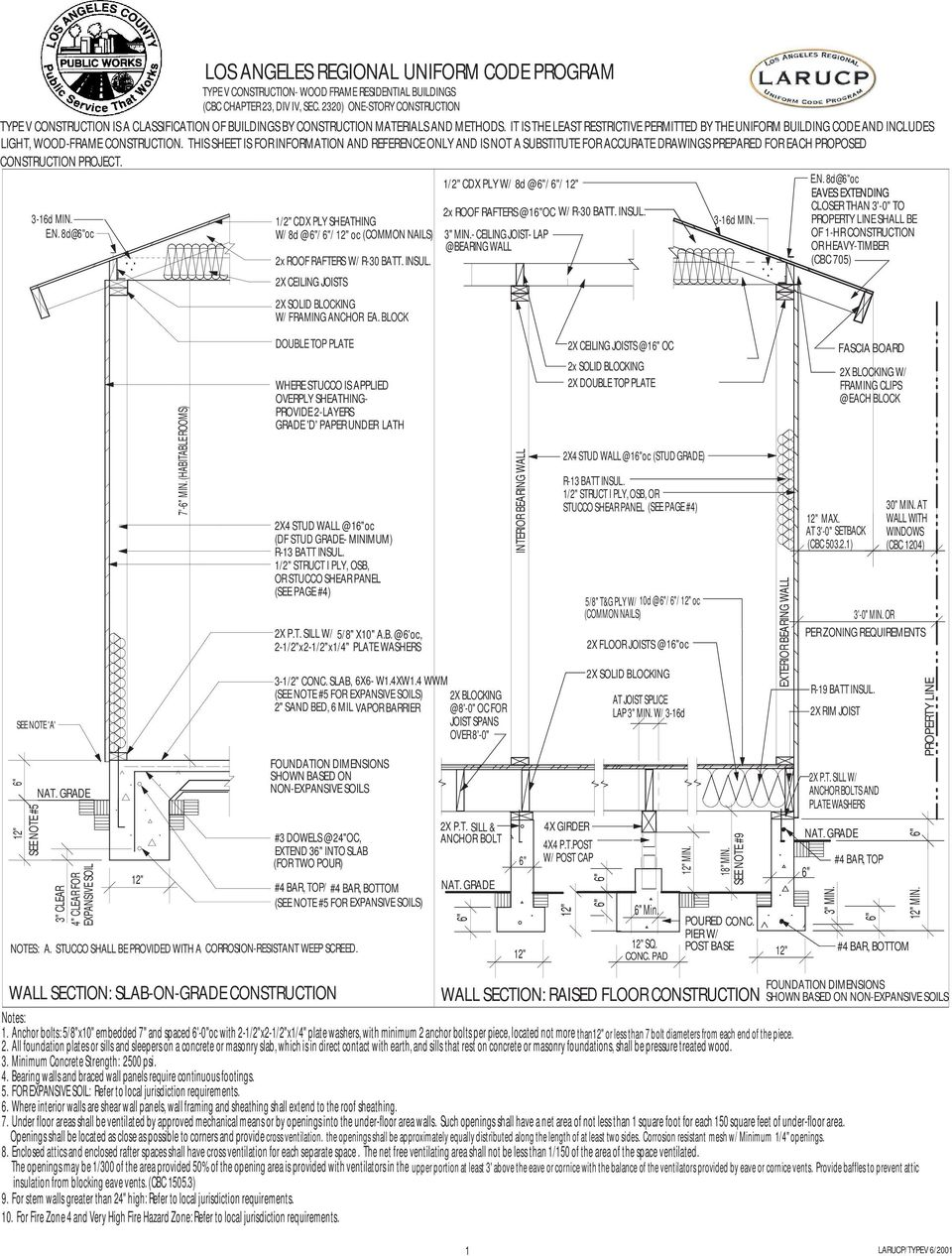 "THIS SHEET IS FOR INFORMATION AND REFERENCE ONLY AND IS NOT A SUBSTITUTE FOR ACCURATE DRAWINGS PREPARED FOR EACH PROPOSED CONSTRUCTION PROJECT. 1/2"" CDX PLY W/ 8d @ / / E.N. 8d@oc SEE NOTE 'A' SEE NOTE #5 NAT."
