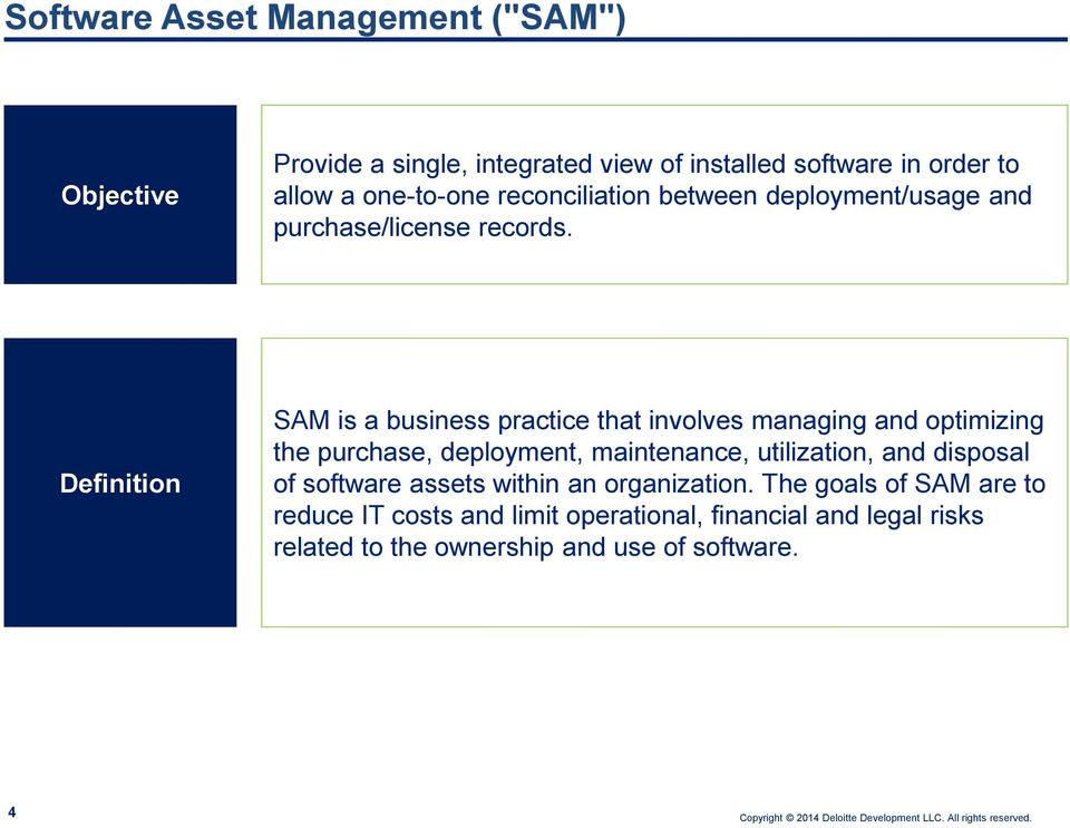 Definition SAM is a business practice that involves managing and optimizing the purchase, deployment, maintenance, utilization,