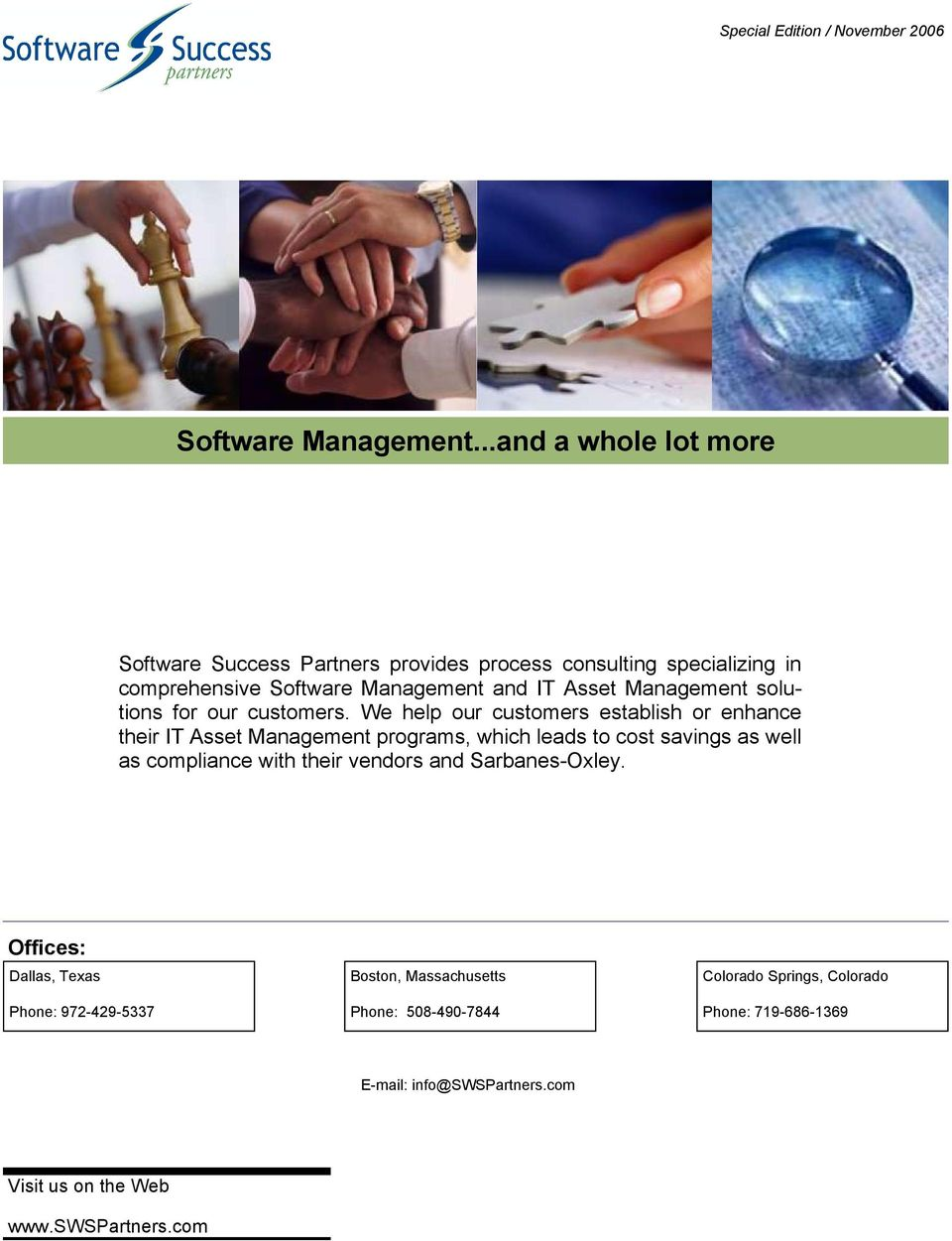 Management solutions for our customers.