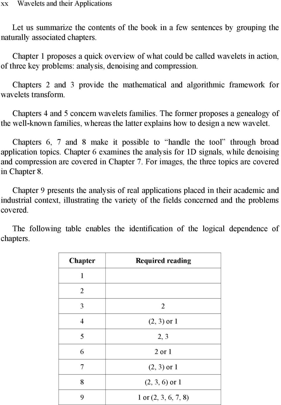 Chapters and 3 provide the mathematical and algorithmic framework for wavelets transform. Chapters 4 and 5 concern wavelets families.