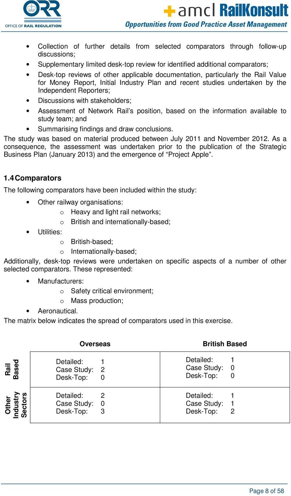Network Rail s position, based on the information available to study team; and Summarising findings and draw conclusions. The study was based on material produced between July 2011 and November 2012.