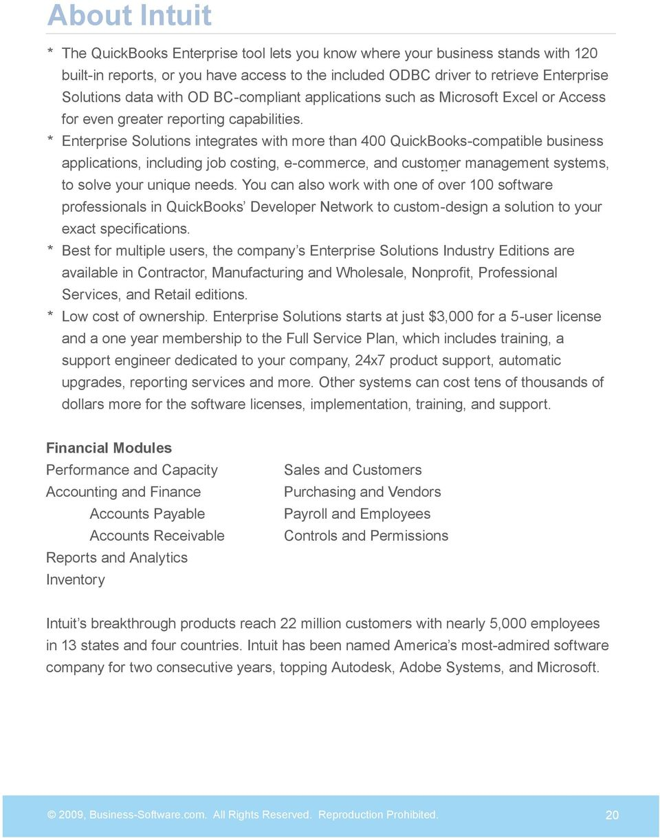Enterprise Solutions integrates with more than 400 QuickBooks-compatible business applications, including job costing, e-commerce, and customer management systems, to solve your unique needs.