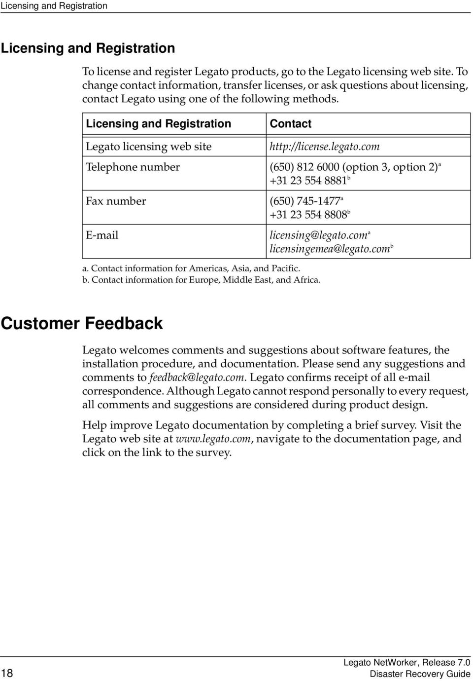 Licensing and Registration Legato licensing web site Telephone number Fax number E-mail Contact http://license.legato.