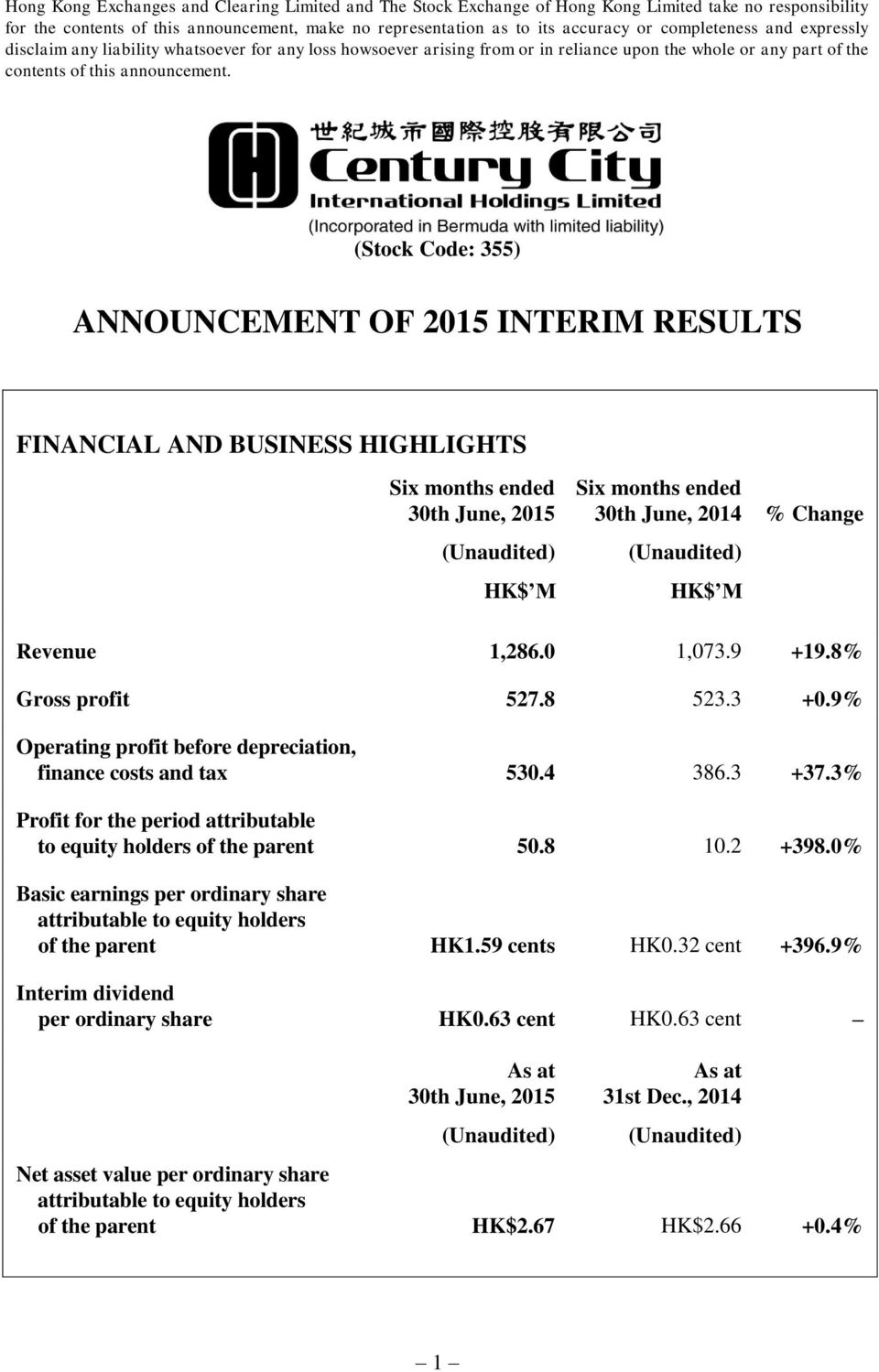 (Stock Code: 355) ANNOUNCEMENT OF 2015 INTERIM RESULTS FINANCIAL AND BUSINESS HIGHLIGHTS 30th June, 2015 30th June, 2014 % Change Revenue 1,286.0 1,073.9 +19.8% Gross profit 527.8 523.3 +0.