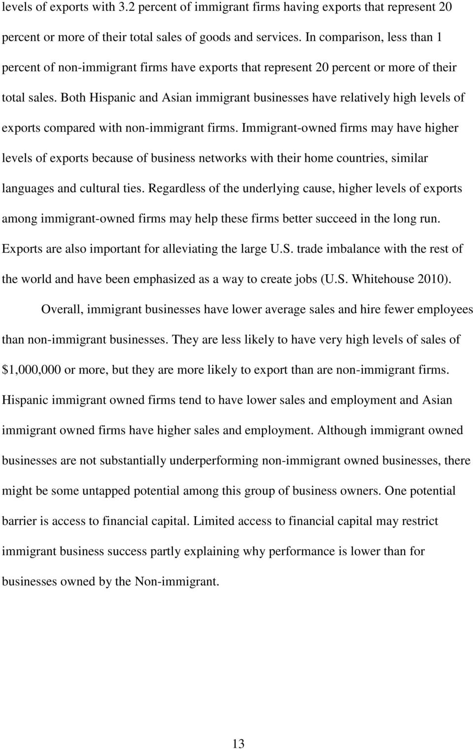Both Hispanic and Asian immigrant businesses have relatively high levels of exports compared with non-immigrant firms.
