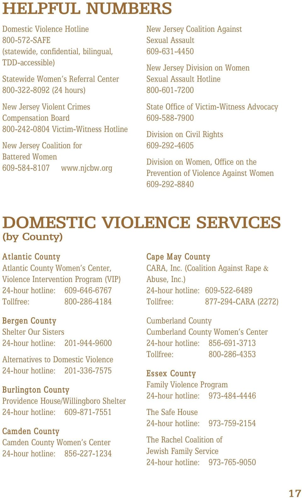 org New Jersey Coalition Against Sexual Assault 609-631-4450 New Jersey Division on Women Sexual Assault Hotline 800-601-7200 State Office of Victim-Witness Advocacy 609-588-7900 Division on Civil