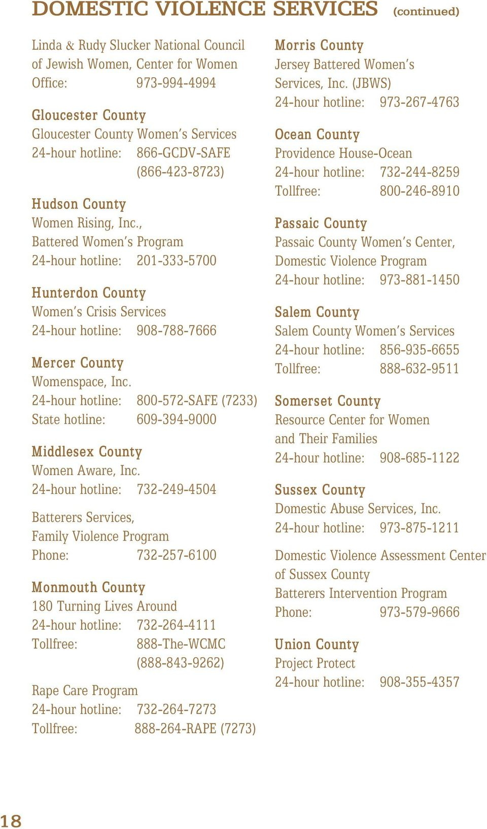 , Battered Women s Program 24-hour hotline: 201-333-5700 Hunterdon County Women s Crisis Services 24-hour hotline: 908-788-7666 Mercer County Womenspace, Inc.