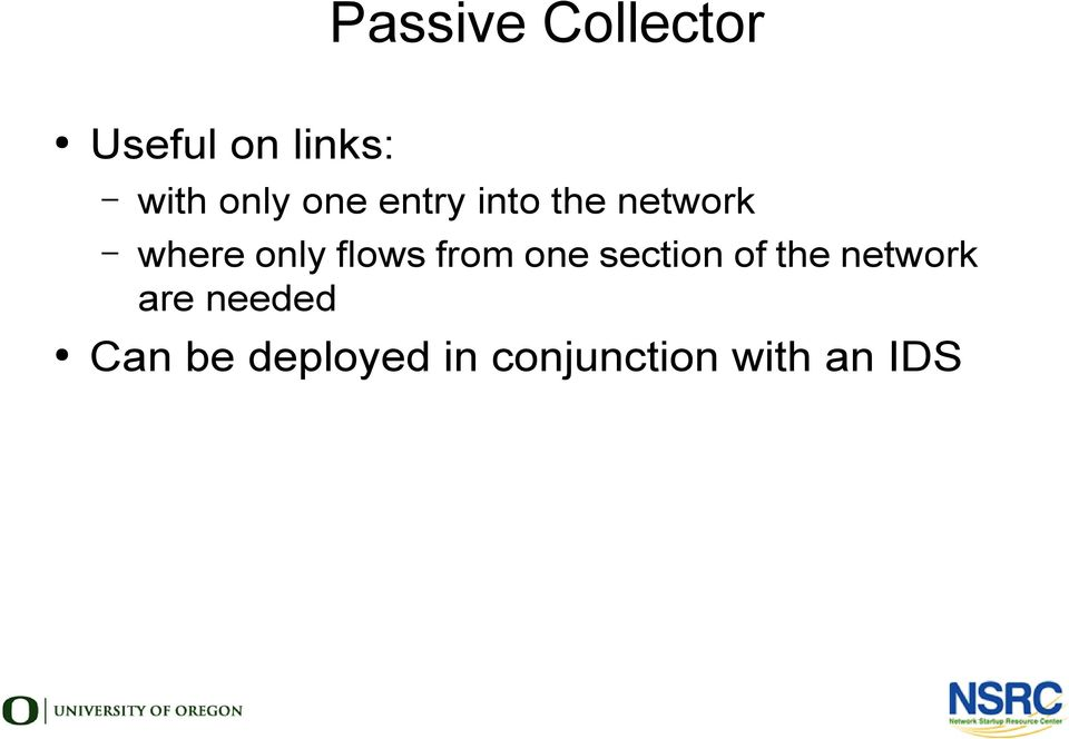 flows from one section of the network are