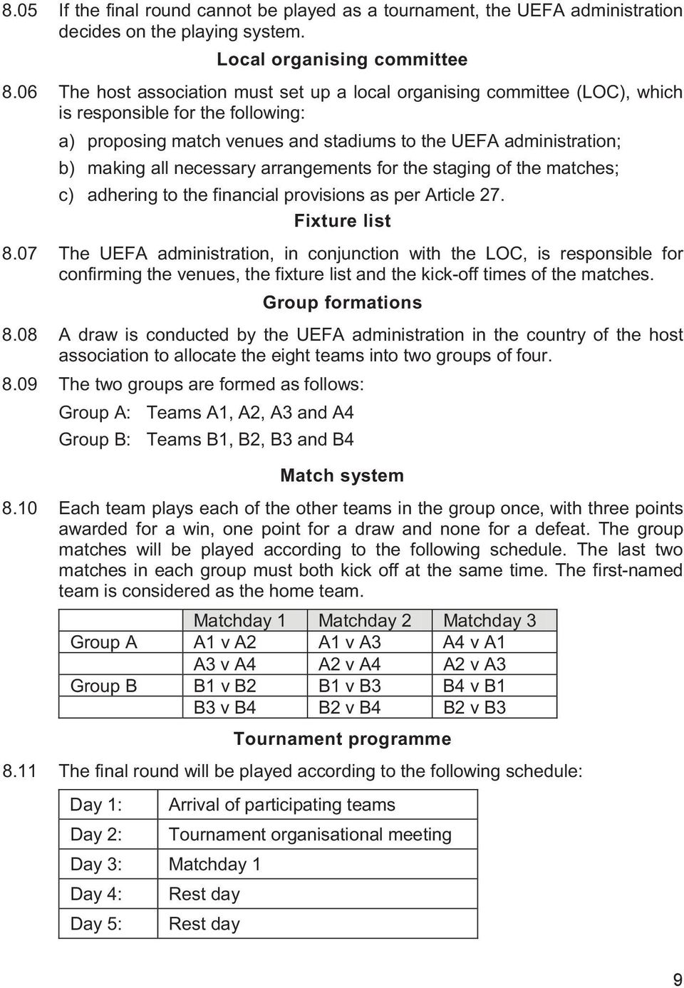 necessary arrangements for the staging of the matches; c) adhering to the financial provisions as per Article 27. Fixture list 8.