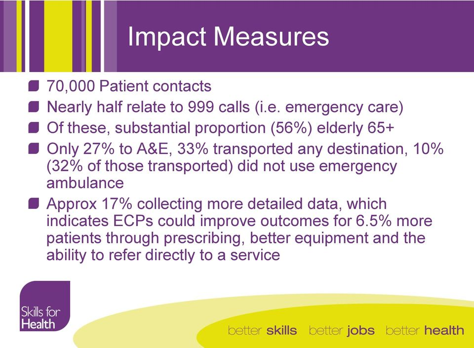 proportion (56%) elderly 65+ Only 27% to A&E, 33% transported any destination, 10% (32% of those transported)