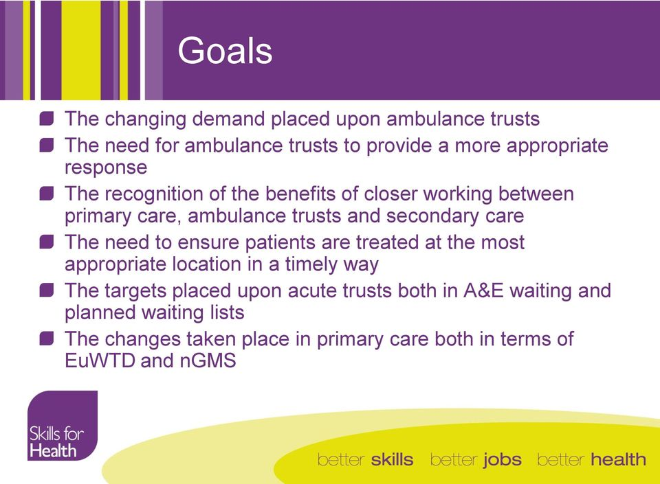 The need to ensure patients are treated at the most appropriate location in a timely way The targets placed upon acute