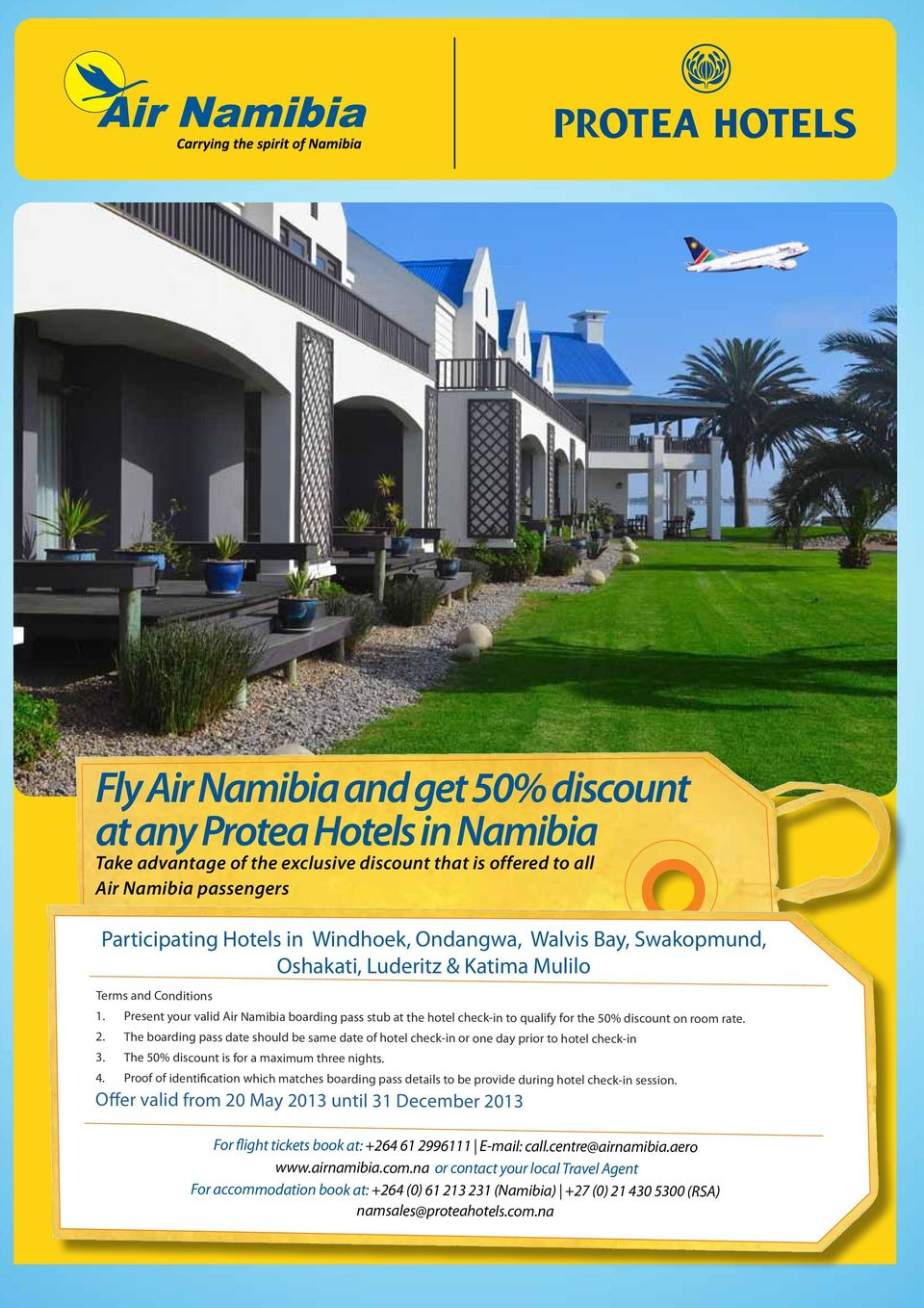 2. The boarding pass date should be same date of hotel check-in or one day prior to hotel check-in 3. The 50% discount is for a maximum three nights. 4.