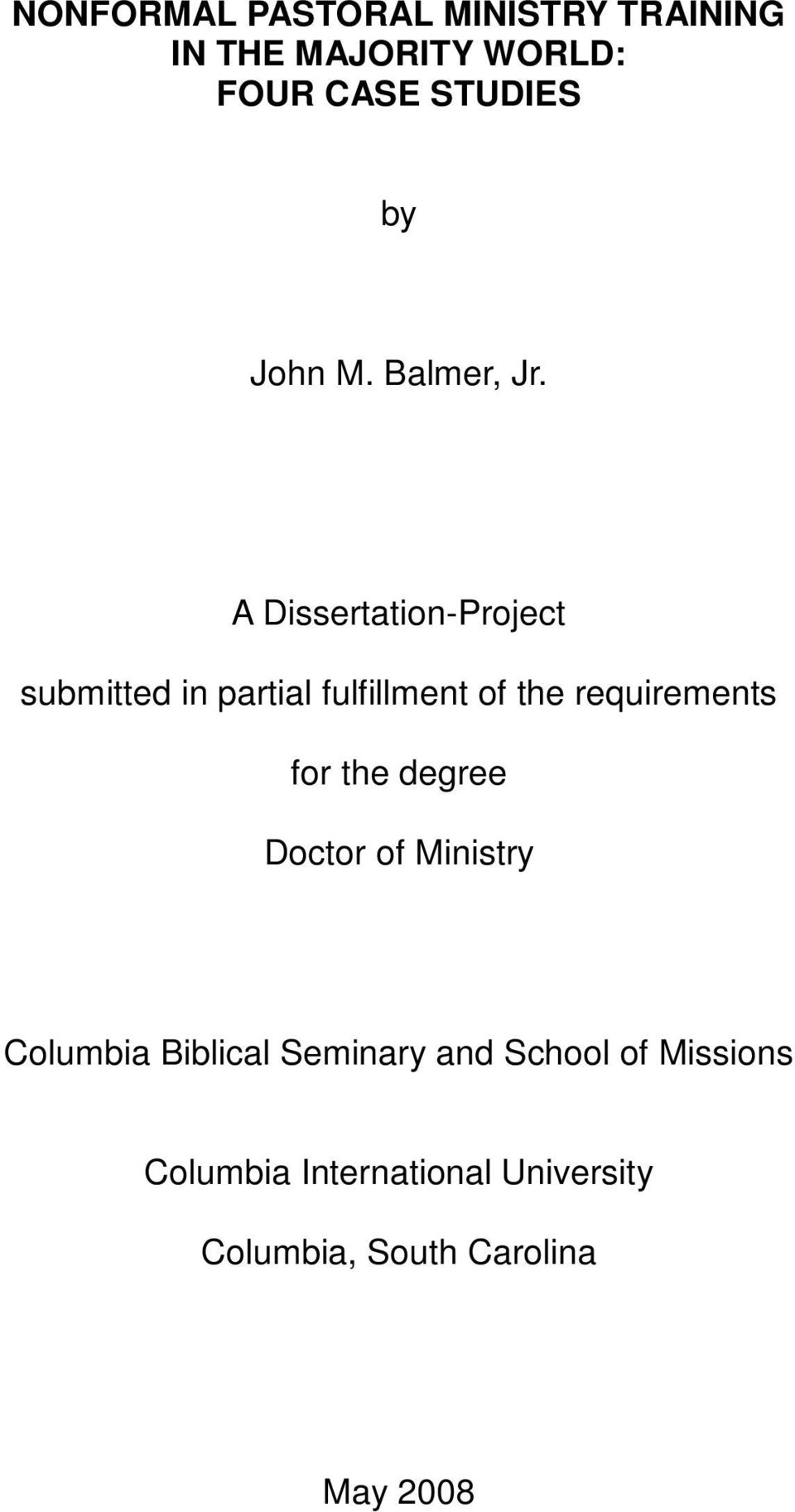 A Dissertation-Project submitted in partial fulfillment of the requirements for