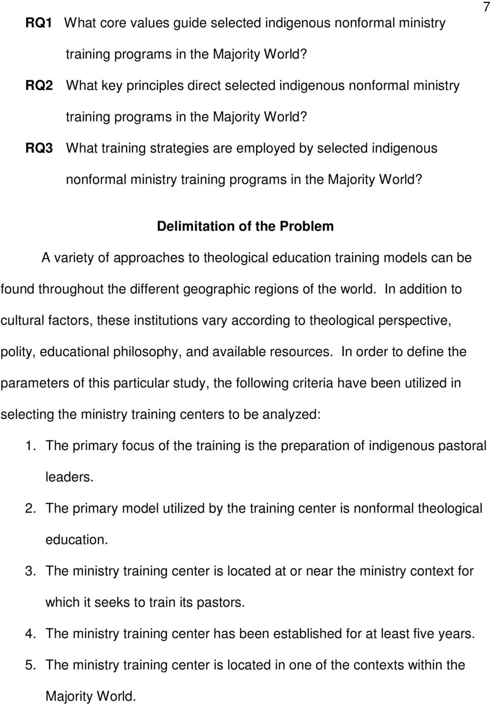 RQ3 What training strategies are employed by selected indigenous nonformal ministry training programs in the Majority World?