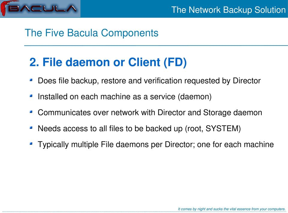 Director Installed on each machine as a service (daemon) Communicates over network with