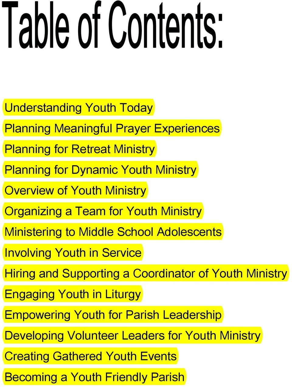 Youth in Service Hiring and Supporting a Coordinator of Youth Ministry Engaging Youth in Liturgy Empowering Youth for