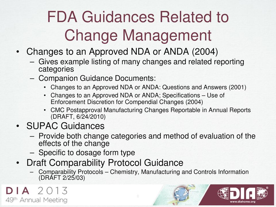 Changes (2004) CMC Postapproval Manufacturing Changes Reportable in Annual Reports (DRAFT, 6/24/2010) SUPAC Guidances Provide both change categories and method of evaluation of