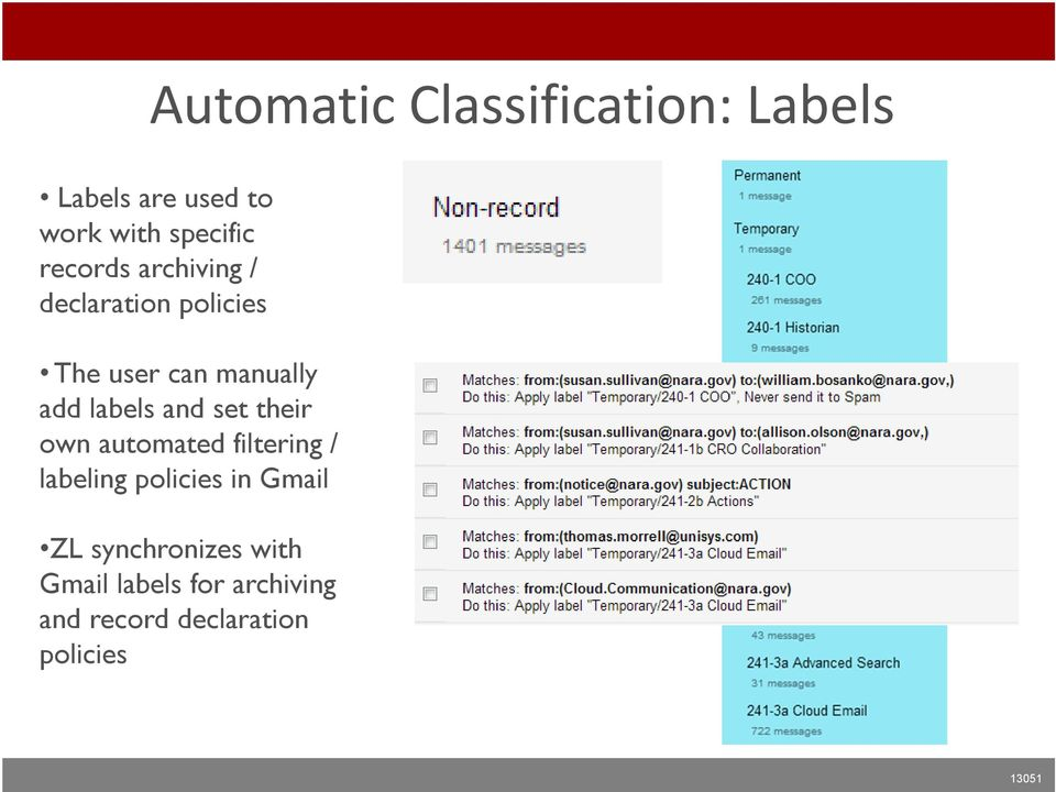 labels and set their own automated filtering / labeling policies in