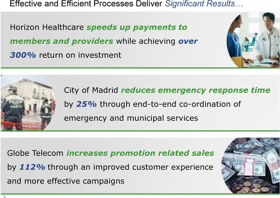 response time by 25% through end-to-end co-ordination of emergency and municipal services Globe Telecom