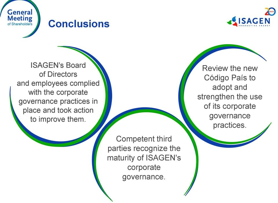 Competent third parties recognize the maturity of ISAGEN's corporate governance.