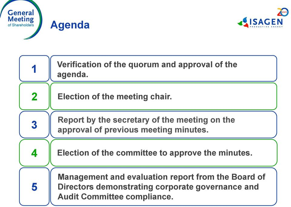 Report by the secretary of the meeting on the approval of previous meeting minutes.