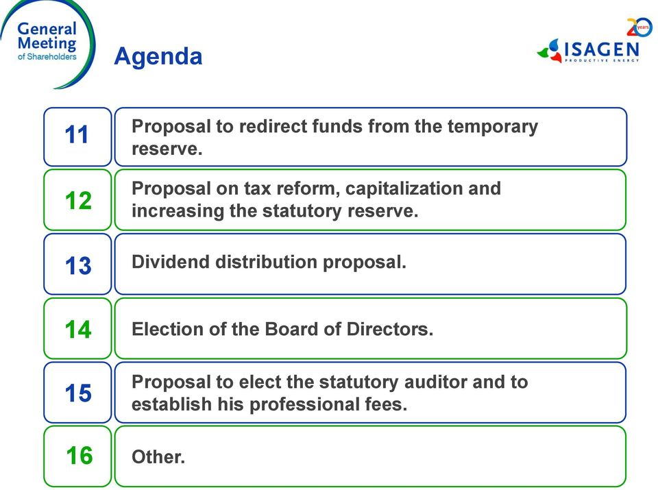 13 Dividend distribution proposal. 14 15 Election of the Board of Directors.