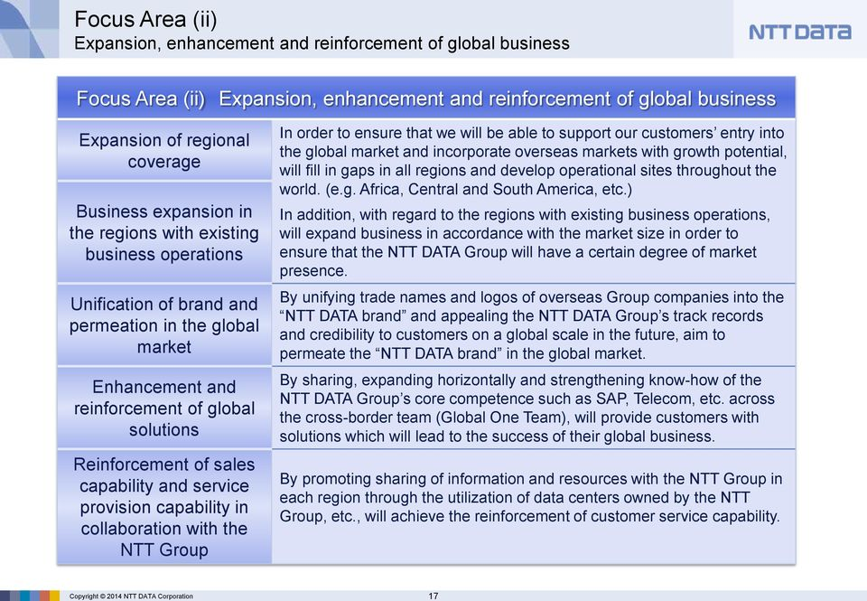 solutions Reinforcement of sales capability and service provision capability in collaboration with the NTT Group In order to ensure that we will be able to support our customers entry into the global