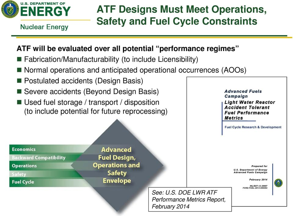 occurrences (AOOs) Postulated accidents (Design Basis) Severe accidents (Beyond Design Basis) Used fuel storage /
