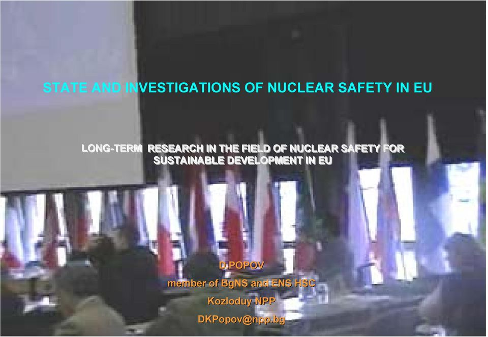 SAFETY FOR SUSTAINABLE DEVELOPMENT IN EU D.