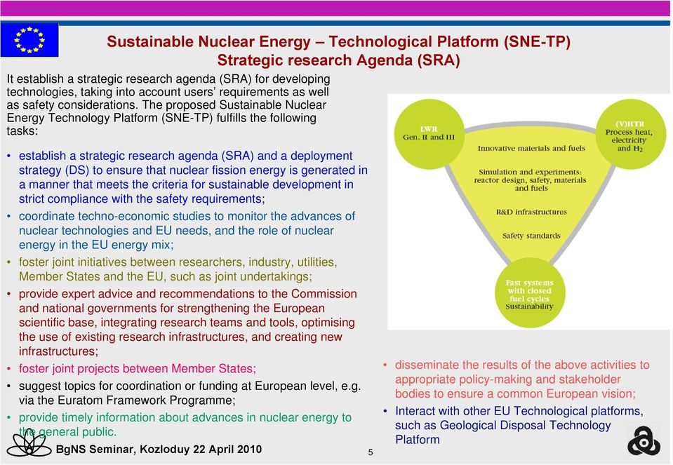 The proposed Sustainable Nuclear Energy Technology Platform (SNE-TP) fulfills the following tasks: establish a strategic research agenda (SRA) and a deployment strategy (DS) to ensure that nuclear