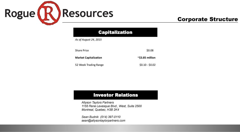 02 Investor Relations Allyson Taylors Partners 1155 Rene Levesque Blvd.