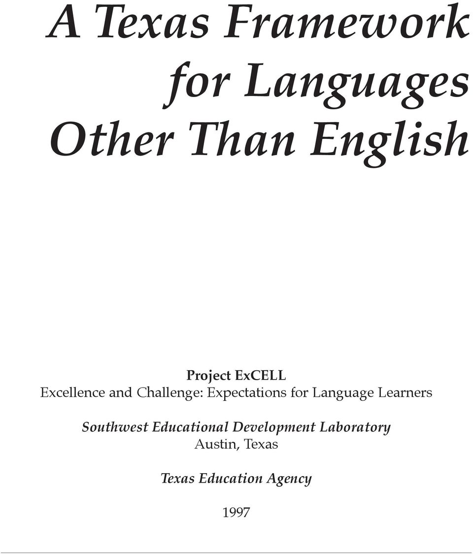 for Language Learners Southwest Educational
