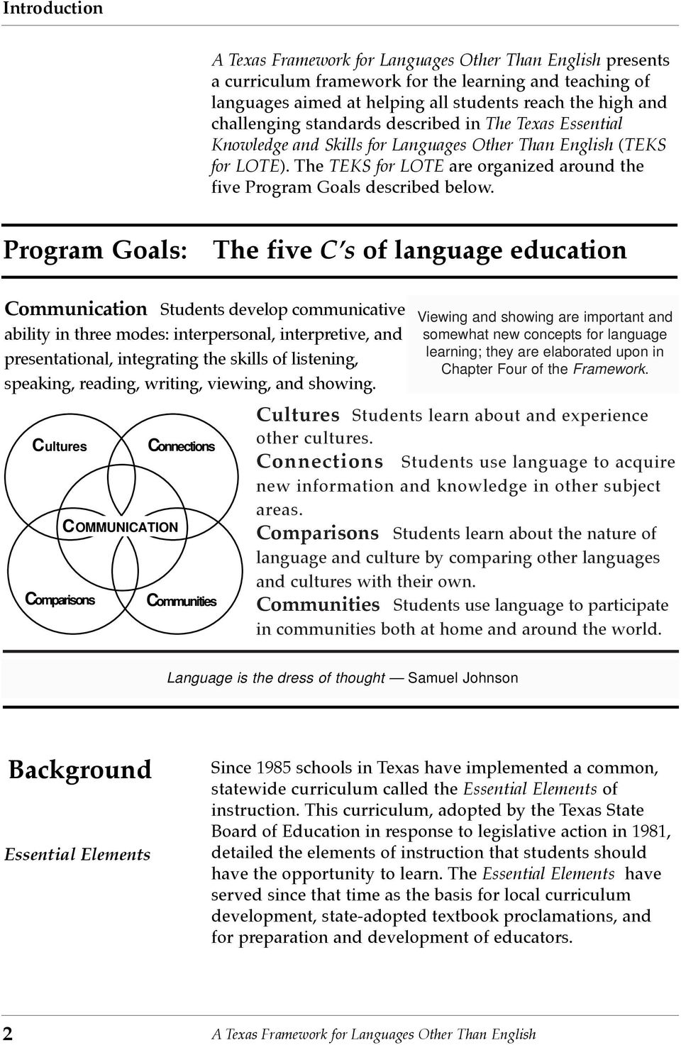 Program Goals: The five CÕs of language education Communication Students develop communicative ability in three modes: interpersonal, interpretive, and presentational, integrating the skills of