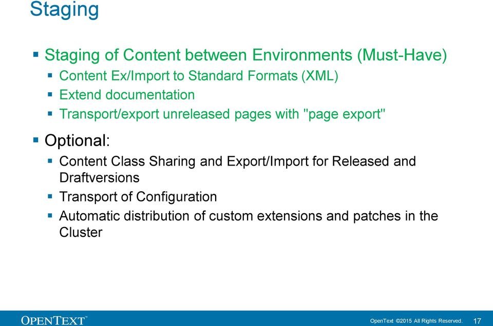 Class Sharing and Export/Import for Released and Draftversions Transport of Configuration