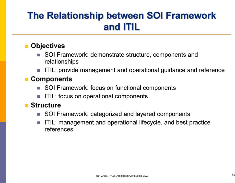 functional components ITIL: focus on operational components Structure SOI Framework: categorized and layered
