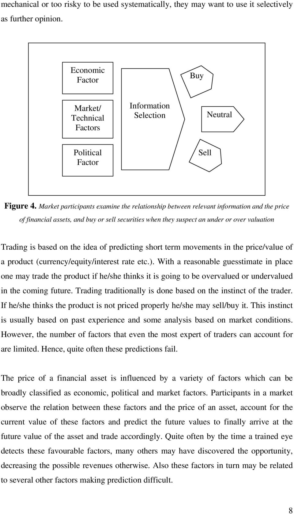 Market participants examine the relationship between relevant information and the price of financial assets, and buy or sell securities when they suspect an under or over valuation Trading is based