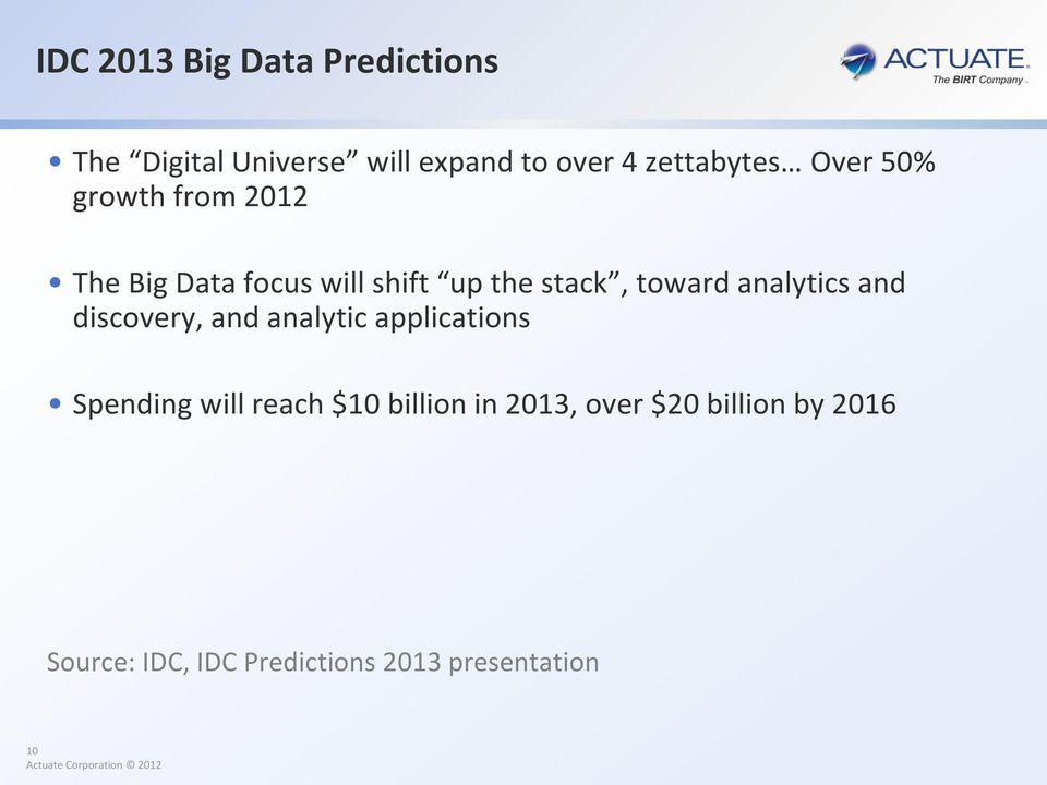 toward analytics and discovery, and analytic applications Spending will reach $10