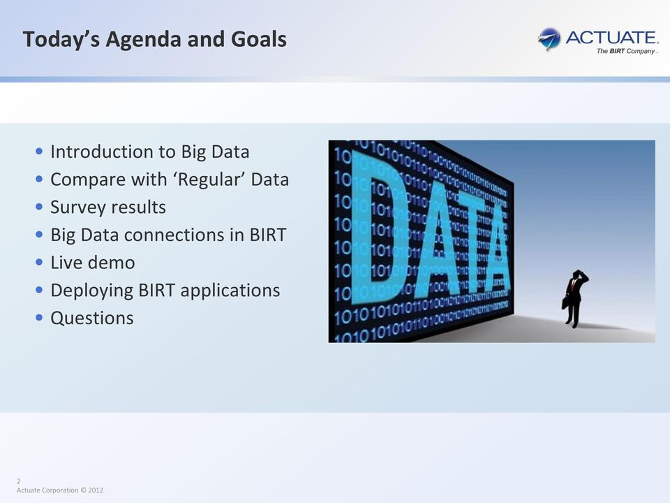 results Big Data connections in BIRT Live