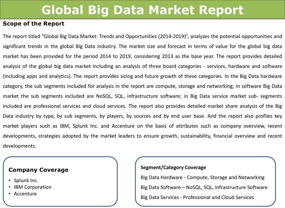 The report provides detailed analysis of the global big data market including an analysis of three board categories - services, hardware and software (including apps and analytics).
