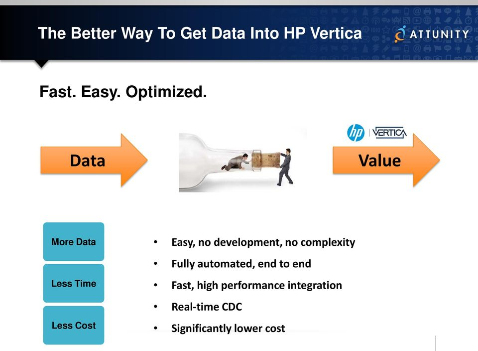 Data Value More Data Less Time Less Cost Easy, no