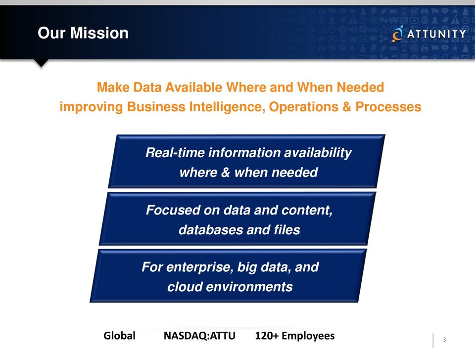 where & when needed Focused on data and content, databases and files For