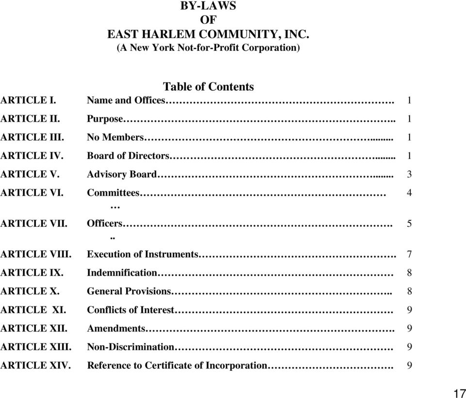 Table of Contents Name and Offices. Purpose.. No Members... Board of Directors... Advisory Board... Committees Officers.