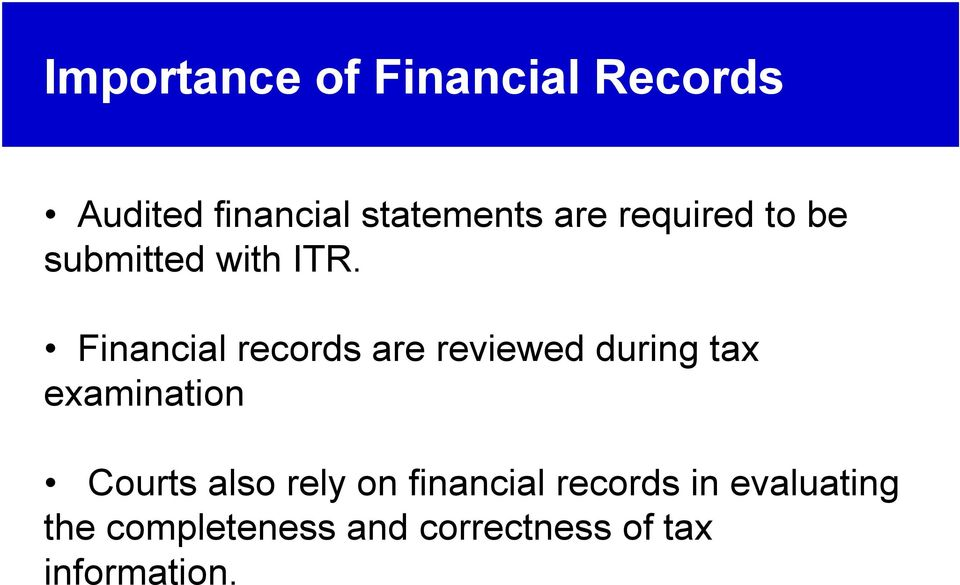 Financial records are reviewed during tax examination Courts